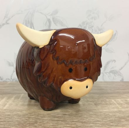 Highland Cow Ceramic Money Bank Pot